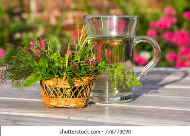 Cup of herbal tea for medical use in alternative medicine.