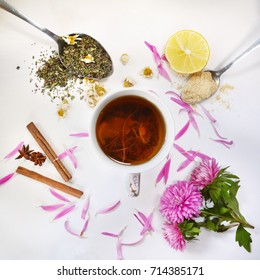 cup of herbal tea on white background, top view