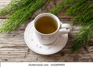 A cup of horsetail tea with fresh Equisetum arvense plant on a table