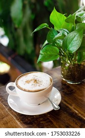 Cup of hot cappuccino and glass vase with green plant on wooden table in cafe.