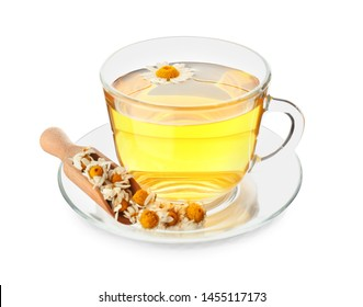 Cup of hot chamomile tea on white background