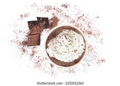 cup of hot cocoa with chocolate pieces isolated white background