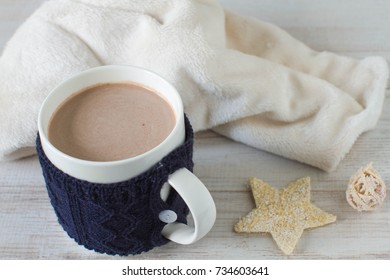 A cup of hot cocoa or hot chocolate, traditional beverage for winter time.