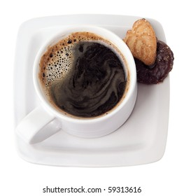 A cup of hot coffee and delicious chocolate cookies. Isolated on white.