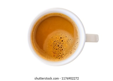 Cup of hot coffee isolated on white background. Top view