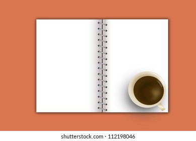 cup of hot coffee and notebook on white background