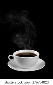 Cup of hot coffee on a black background. Steam.