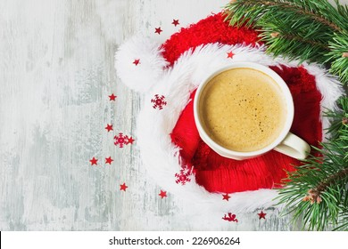 cup of hot coffee on a christmas holiday table. holidays and events