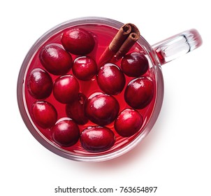 Cup of hot cranberry drink isolated on white background. Top view