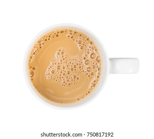 Cup of hot drink brown coffee and bubble isolated on white background on top view , object background