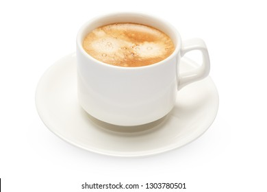 Cup of hot fresh italian espresso isolated on white background