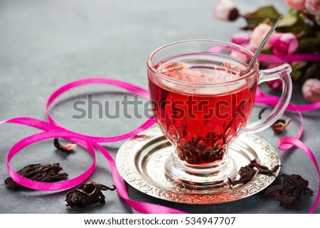 Cup Hot Hibiscus Tea Karkade Red Stock Photo Edit Now 534947707