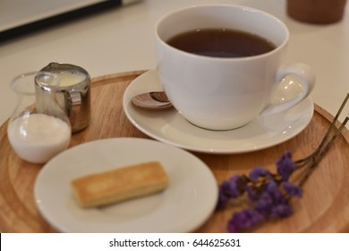 A cup of hot tasty lavender tea, a beverage with fresh herbal aroma