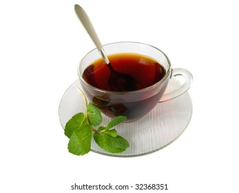 cup of hot tea with aromatic spearmint