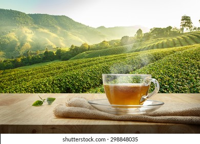 Cup of hot tea with burlap on the wooden table and the tea plantations background