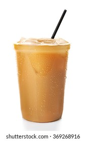 Cup of ice coffee with straw, isolated on white