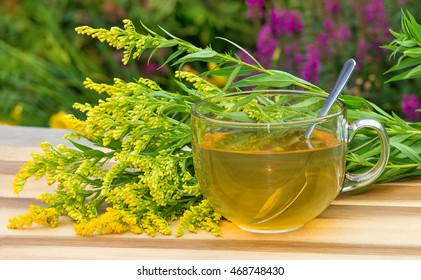 Cup of infusion of Goldenrot or Solidago a diuretic herbal healing infusion, also used as laxative tea.