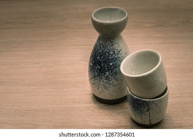 A cup of Japanese sake, Sake is a traditional Japanese liquor that is Widely popular.