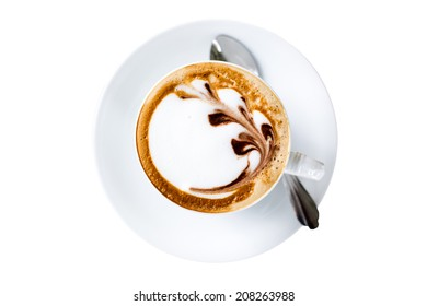 A cup of Latte coffee isolated.