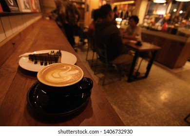 a cup Latte at coffeshop atmosphere