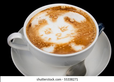 Cup of latte on a dark background