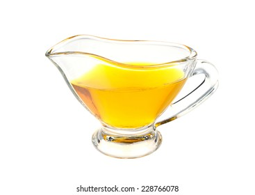cup with linseed oil isolated on white background