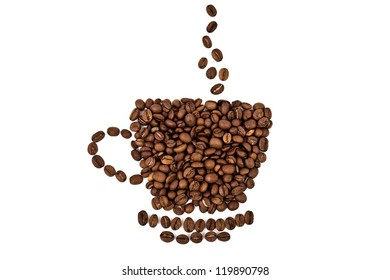 a cup made of coffee beans isolated over white background