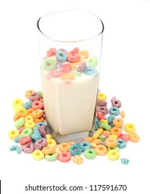 cup of milk and cereal on white background