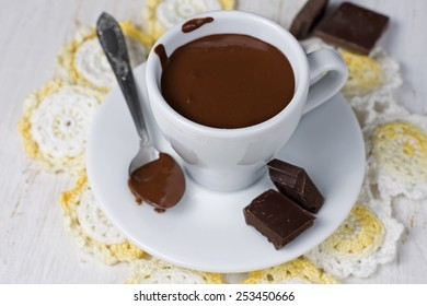 cup mug with hot black chocolate