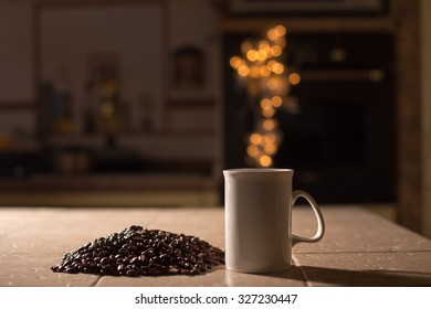 Cup is near coffee beans with a steam