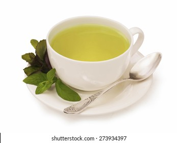Cup od herbal mint green health tea on a white background