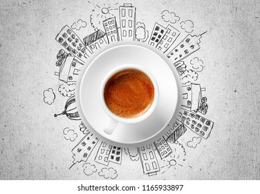 Cup od hot coffe on doodles background