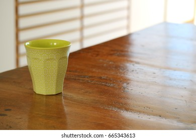 a cup on the table