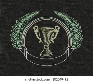 cup on vintage blank banner green leaves written on blackboard background high resolution, easy to use