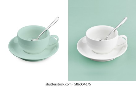 Cup on white & turquoise background