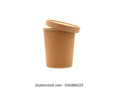 Cup, paper brown Cup with paper Lid isolated on white Background