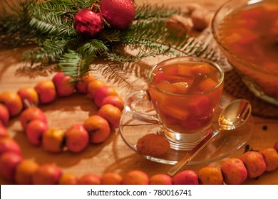 Cup of ponche, a traditional Guatemalan hot drink made at Christmas time with crab apples.