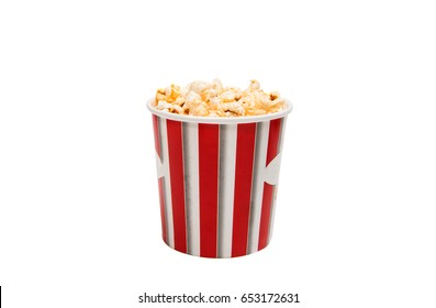 cup of popcorn isolated on white background