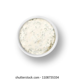 cup of ranch dressing isolated on a white background