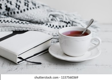 Cup of red hibiscus tea, book and warm knitted blanket. Reading concept. Tea break at home