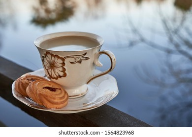 Cup and saucer and cookies on the background of the pond