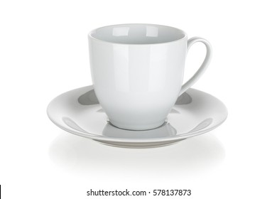 cup and saucer isolated on white