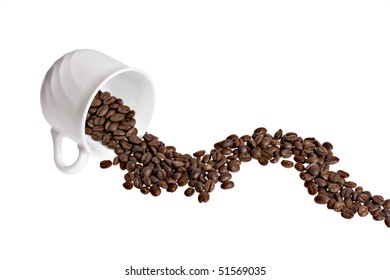 Cup with spilled grain coffee concept isolated on white