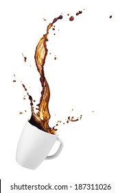 cup of spilling coffee with splash isolated on white