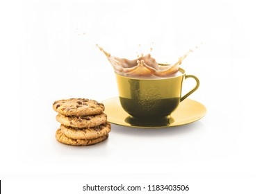 cup of splashing coffee isolated on white background