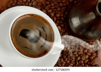 cup of steaming oriental coffee