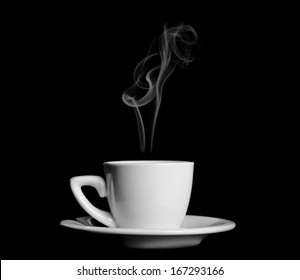 A cup of steamy hot coffee in white cup over blue background