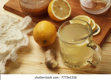 A cup of sweet home tea with lemon and ginger