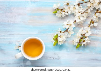 Cup of tea and branches of blossoming apricot on old wooden table.