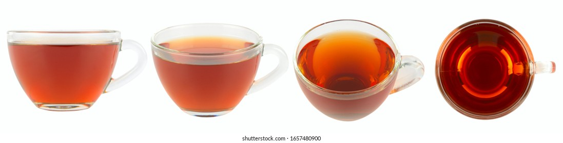 Cup of tea from different angles isolated on white background